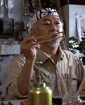 Mr Myagi with chopsticks